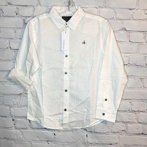 NWT Calvin Klein Boy's 10/12 White Button Down